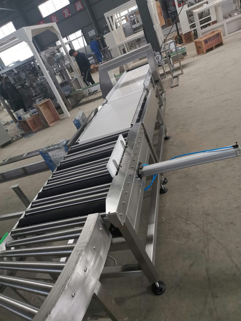 Weight checker, metal checker and rejection conveyor